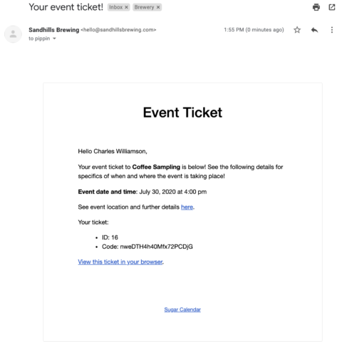 Emailed Ticket