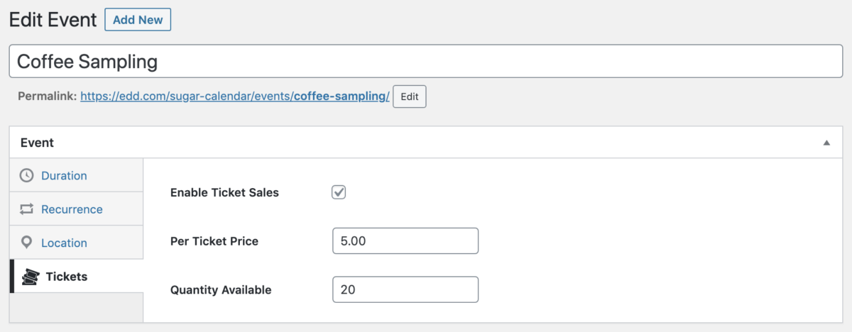 Event Ticketing Configuration