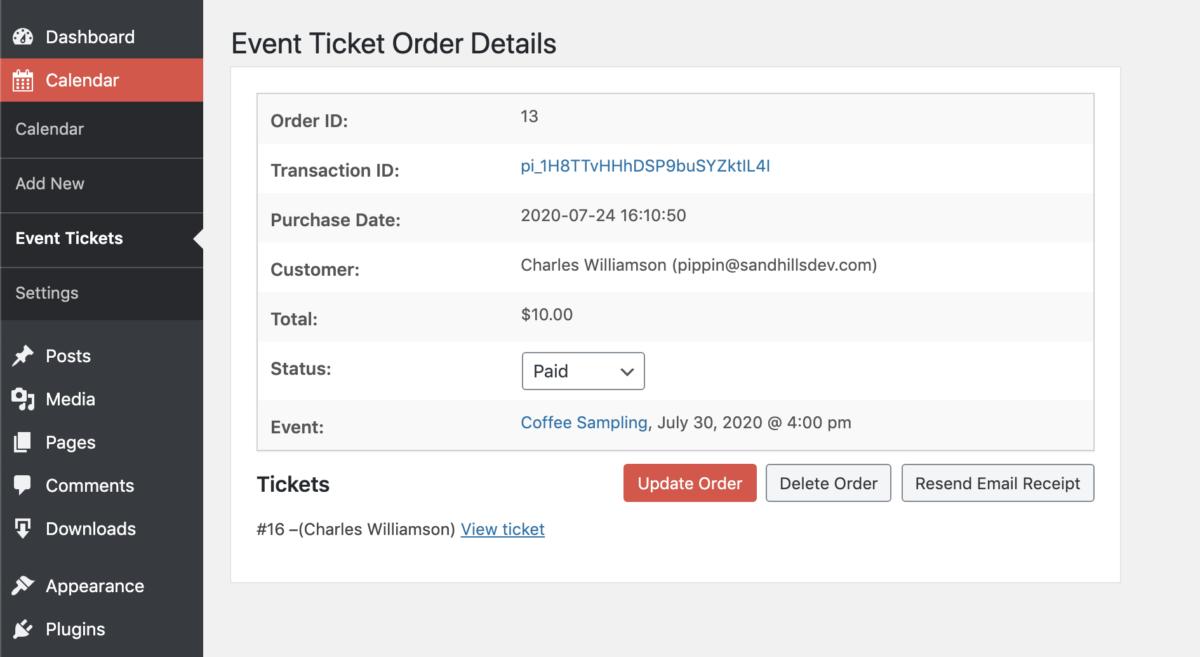 Ticket Order Details