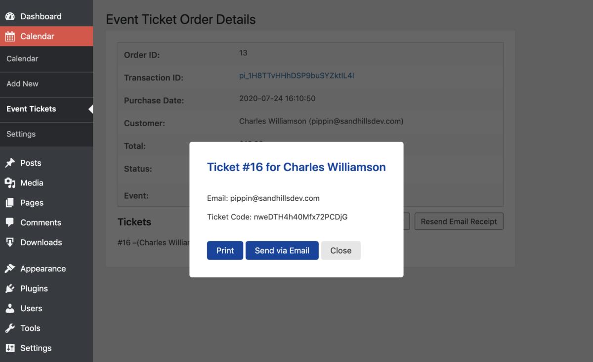 Ticket Details on Order