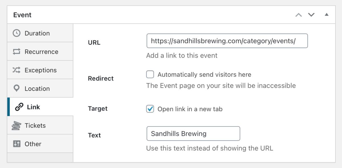 Event URL settings